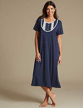 Cotton Rich Geometric Print Short Sleeve Nightdress