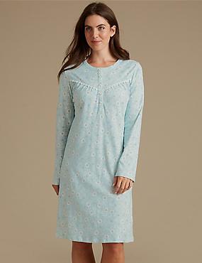 Pure Cotton Floral Print Long Sleeve Nightdress