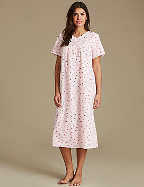 Ditsy Floral Print Nightdress, PINK MIX, catlanding