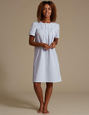 Embroidered Daisy Yoke Nightdress