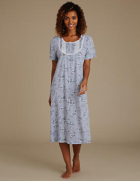Cotton Blend Floral Long Nightdress