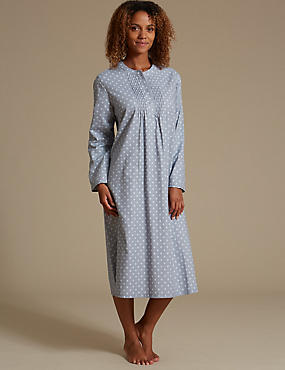 Pure Cotton Pintuck Print Nightdress