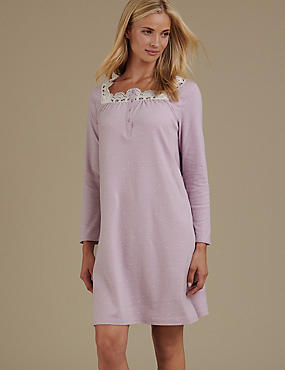 Pure Cotton Crochet Trim Jersey Long Nightdress