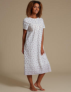 Woven Print Long Nightdress