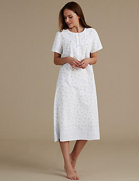 Cotton Blend Floral Print Nightdress
