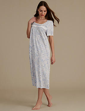 Lily Print Short Sleeve Long Nightdress