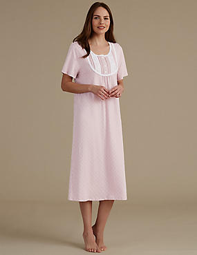 Crochet Trim Printed Jersey Nightdress