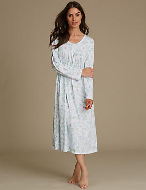 Cotton Rich Floral Print Pintuck Nightdress