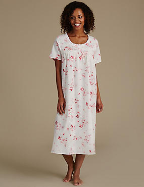 Cotton Blend Printed Pintuck Nightdress