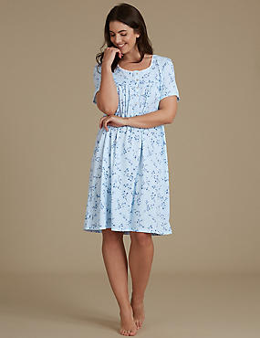 Ditsy Floral Print Nightdress, BLUE MIX, catlanding