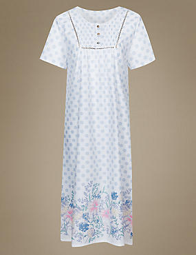 Floral Print Nightdress, WHITE MIX, catlanding