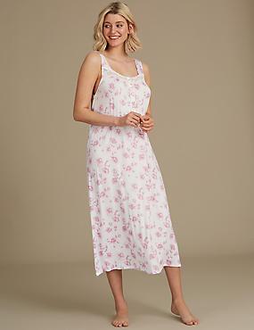 Floral Print Jersey Nightdress , PINK MIX, catlanding