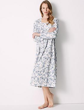 Pure Cotton Floral Print Nightdress, LIGHT BLUE MIX, catlanding
