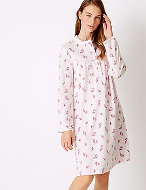 Fleece Leaf Print Long Sleeve Nightdress , PINK MIX, catlanding