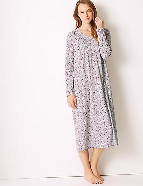 Ditsy Floral Print Long Sleeve Nightdress, LILAC MIX, catlanding