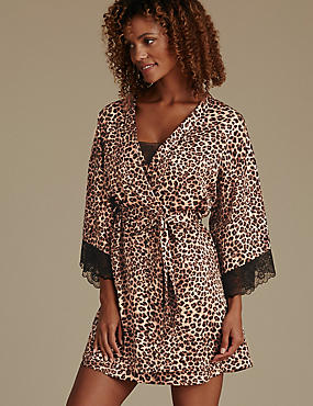Animal Print Satin Wrap