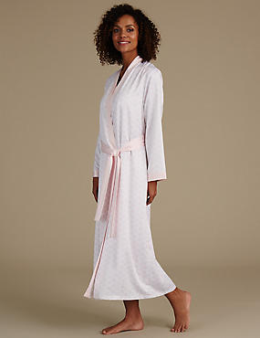 Satin Geometric Print Wrap Dressing Gown