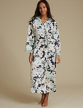 Floral Print Wrap Dressing Gown