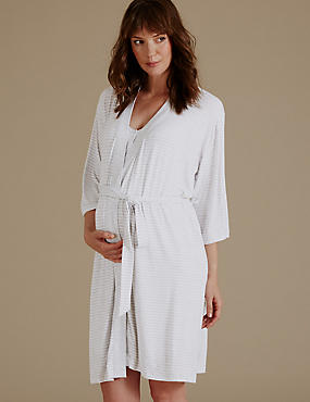 Maternity Striped Short Dressing Gown