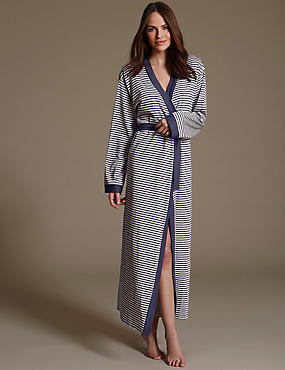 Striped Belted Long Wrap with Modal