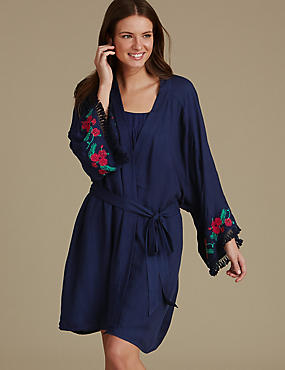 Modal Blend Embroidered Dressing Gown