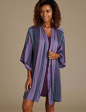 Mosaic Print Short Wrap Dressing Gown
