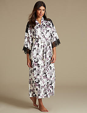 Printed Long Wrap Dressing Gown, BLACK MIX, catlanding