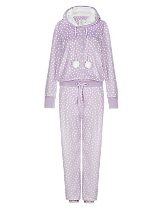 Hooded Spotted Fleece Onesie Clothing