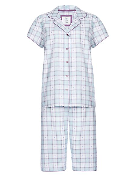 Pure Cotton Heart & Dobby Checked Pyjamas