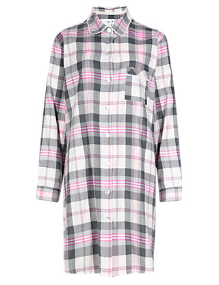 Pure Cotton Checked Nightshirt Clothing