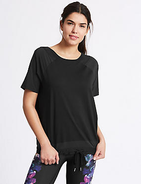 Bubble Mesh T-Shirt, BLACK MIX, catlanding