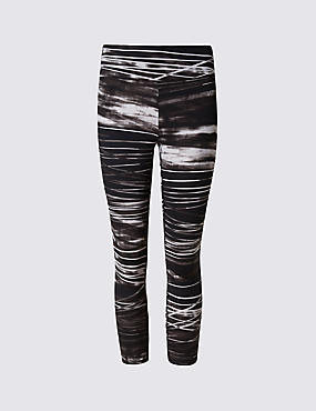 Quick Dry Water Striped Cropped Leggings with Cool Comfort™ Technology