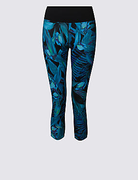 Tropical Print Cropped Leggings
