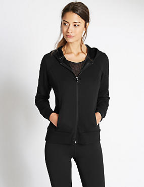 Hooded Front Zipped Sweatshirt with StayNEW™