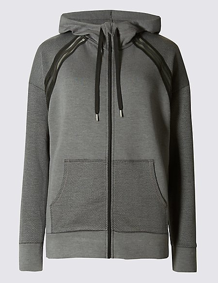 Breathable Zipped Through Hooded Sweatshirt