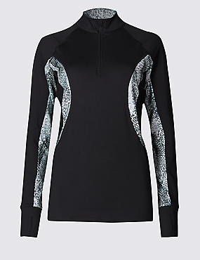 Printed Long Sleeve High Neck Top