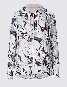 Supersoft Printed Dipped Hem Hooded Top