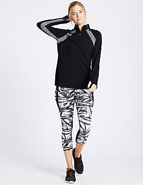 Printed Cropped Leggings, BLACK MIX, catlanding