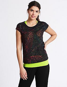 Burnout Double Layer T-Shirt, BLACK, catlanding