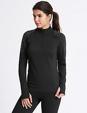 Reflective Dot Run Top, BLACK, catlanding