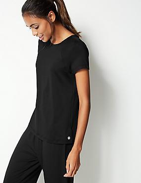 Round Neck Short Sleeve Top, BLACK, catlanding