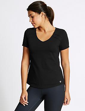 Cotton Rich Quick Dry Short Sleeve Top   , BLACK, catlanding