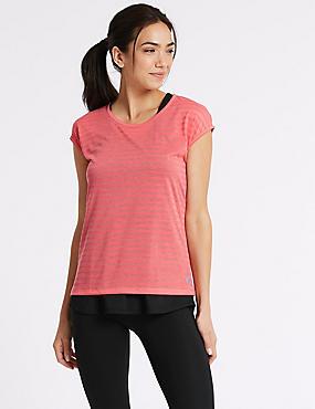 Stripe Double layer Short Sleeve Sport Top, FLAMINGO, catlanding