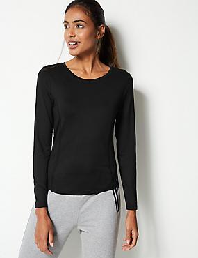 Quick Dry Long Sleeve Top, BLACK, catlanding