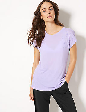 Quick Dry Textured Short Sleeve Top, MEDIUM LILAC, catlanding