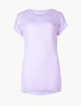 Quick Dry Textured Short Sleeve Top, MEDIUM LILAC, catlanding