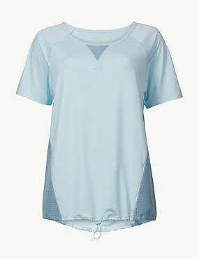 Quick Dry Short Sleeve Top, BLUE/GREEN, catlanding