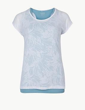 Double layer Short Sleeve Sport Top, WHITE/MED BLUE, catlanding
