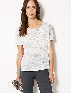 Textured Short Sleeve Top, GREY MIX, catlanding