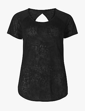Textured Burnout Short Sleeve Top, BLACK, catlanding